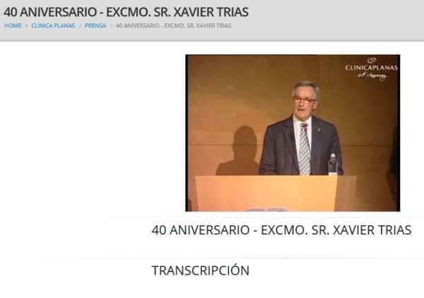 40 aniversario - Excmo. Sr. Xavier Trias