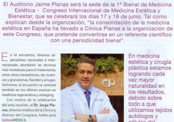 Clínica Planas celebrará en junio la 1ª Bienal de Medicina Estética