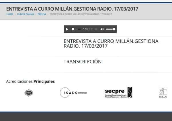 Entrevista a Curro Millán.Gestiona Radio. 17/03/2017