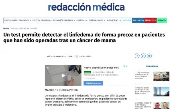 Un test permite detectar el linfedema de forma precoz